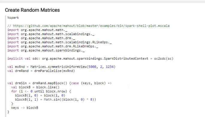 terp setup and create random matrices